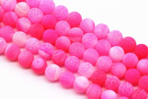(ShopForAllYou Design Making Fushia Fire Agate Round Loose Beads Cracked Matte Frosted Size 6mm)
