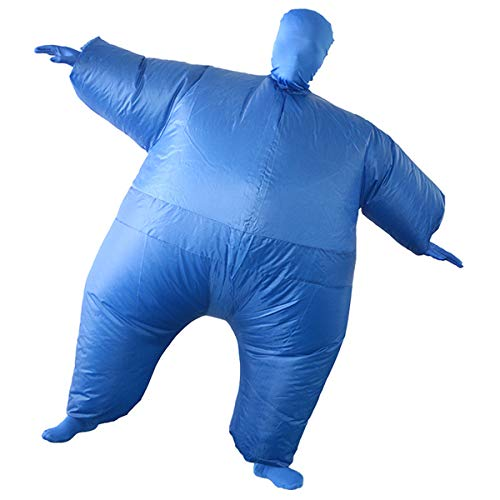 Inflatable Fancy Men's Chub Fat Masked Suit Dress Blow Up Halloween Party Costume (Blue) ()