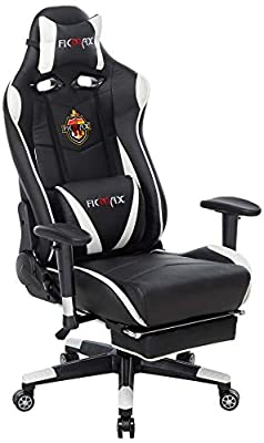 Ficmax Ergonomic Gaming Chair Racing Style Office Chair High-Back Large Size Executive Chair PC Computer Desk Chair Lumbar Massage Support Footrest