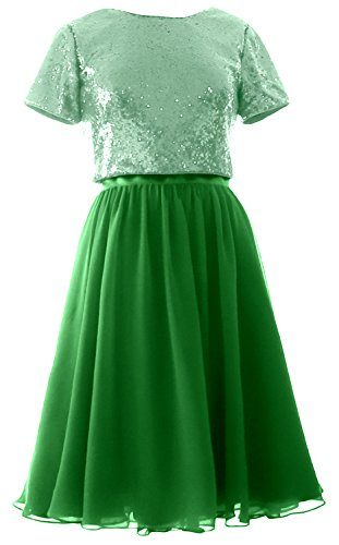 MACloth Cap Sleeves Two Piece Short Bridesmaid Dress Sequin Chiffon Formal Gown (EU50, Green-Mint)