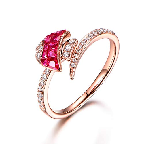 Gems.RDX Ruby and Diamond Ring 18K Rose Gold Exquisite Fish Rings for Women Girl Romantic Jewellery with Box,T1/2