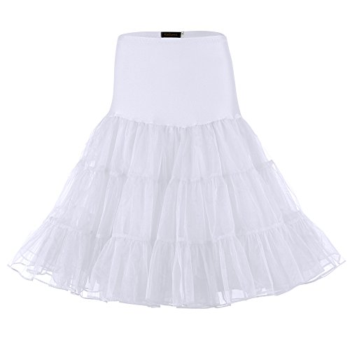 Vintage Slip Half (HiQueen Womens 50s Vintage White crinoline Petticoat, Slip Tutu Underskirts Medium White,White,Medium)