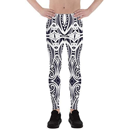 Satori_Stylez Ta Moko Mens Leggings Printed Tribal Polynesian Maori Tattoo Design Pattern Meggings White