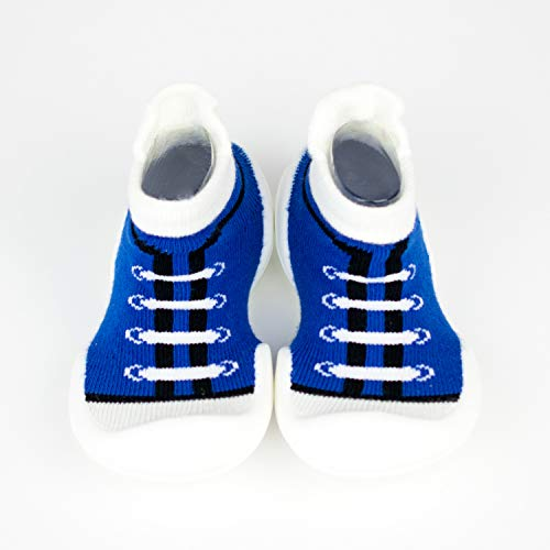 (GOSHINS Canvas Blue Baby Socks with Rubber Soles Infant Toddler Non Slip Breathable Cotton Shoes Socks (14 to 22 Months : US 6.5 / EU 22.5 / 125mm))