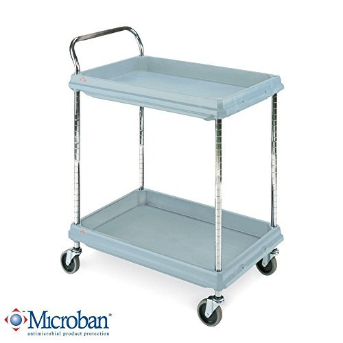 Metro Deep Ledge Series Antimicrobial Polymer Utility Cart with 4 Swivel Casters, 2 Shelves, 400 lb. Total Capacity, 41″ Height x 21-1/2″ Width x 32-3/4″ Length, Slate Blue