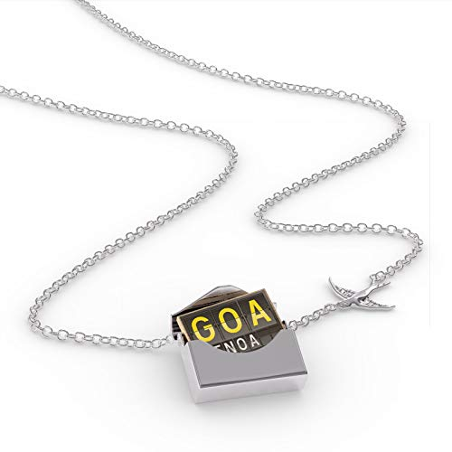 NEONBLOND Locket Necklace GOA Airport Code for Genoa in a Silver Envelope