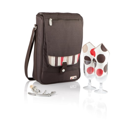 Picnic Time Barossa Insulated Wine Tote with Wine Accessories for Two, Moka (Collection Wine Tote)