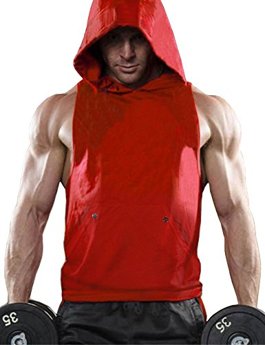 0bc332e17cf Daupanzees Mens Workout Hooded Tank Tops Sleeveless Gym Hoodies with Kanga  Pocket Cool and Muscle Cut