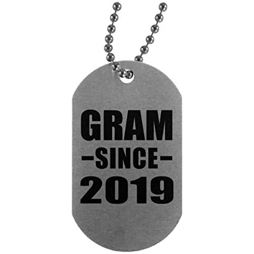 Gram Since 2019 - Silver Dog Tag Military ID Pendant Necklace Chain - Fun-ny Gift for Family Mom Dad Kid Grand-Parent Mother's Father's Day Birthday Anniversary ()