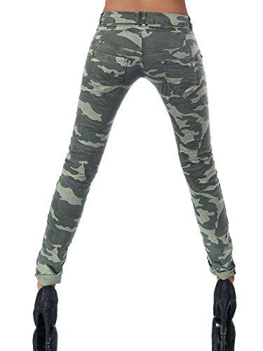 Jeans Jeans Camouflage Diva olivgrn Boyfriend Uni Femme U5nXzX4