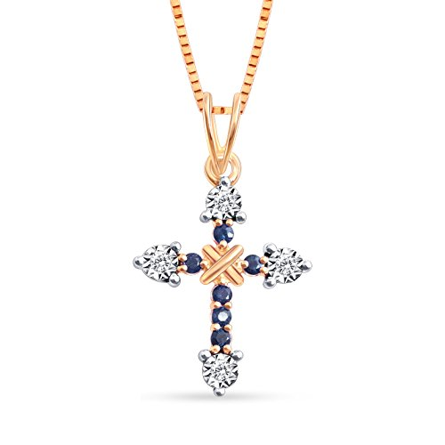Christmas Gift, Almighty, God, Cross, Jewel Ivy 14k Pink Gold Pendant with Sapphire and Diamond by JEWEL IVY