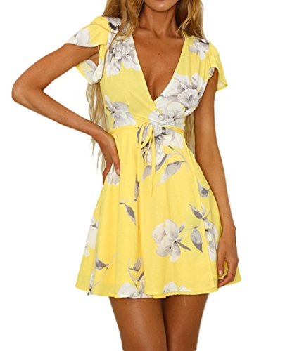 Cute Summer Dress - Vivimeng Women's Cute V-Neck Capped Sleeves Floral Printed A-line Fitted Flare Casual Dress VP0001-YL Small