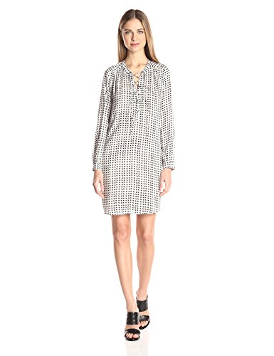 Velvet by Graham & Spencer Women's Printed Challis Laceup Dress, Bisque S
