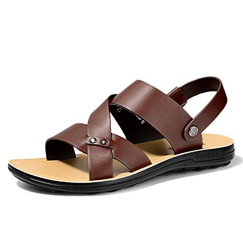 Darkbrown De Playa Punta Antideslizante Sandalias De Cómodos Libre Ajustables Abierta Zapatos Deportes Al Aire Para Cuero Hombres Verano snfgoij UwxqZvzRZ