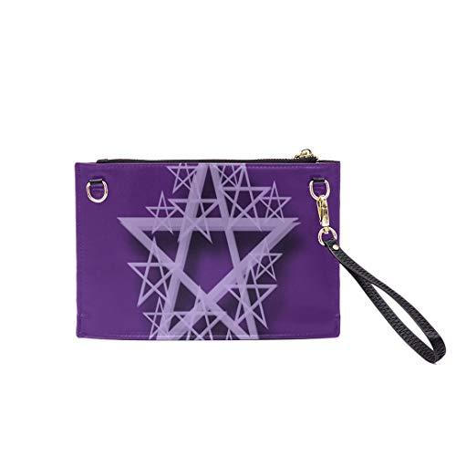 Handbag Shoulder Bags Envelope Clutch Pentacle Purple Wicca Paganism Mysticism Symbols Clutch Purse For Women Wrist Leather Zipper Crossbody Bag Satchel Purse With Detachable Shoulder &wrist Straps
