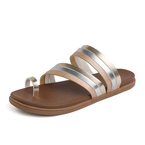 DREAM PAIRS Women's Flat Sandals Gold Sliver Champagne Size 8 M US Dumbo-Slip (Best Slip On Sandals 2019)