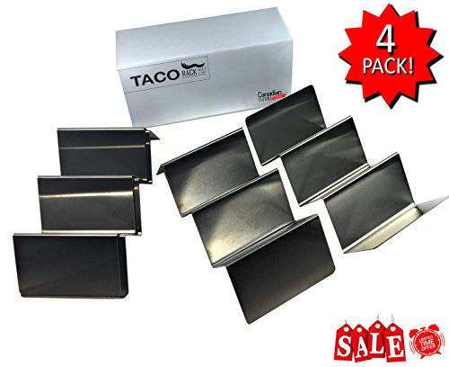 4 Pack - Stainless Steel - Taco Holder | Taco Stand | Taco Shell Molder | Taco Rack | Tray | by (Canadian Tray)