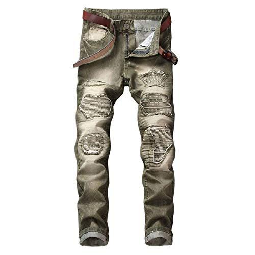 A Vita Strappati Casual Cintura Da Bobo Media Distrutti Senza Especial 88 Pantaloni Jeans Moto Estilo Verde Uomo wRSSnIX8