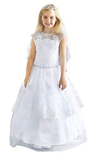 iGirlDress Angels Garment Big Girls White First Communion Long Dress White 1714 Size 10 by iGirldress