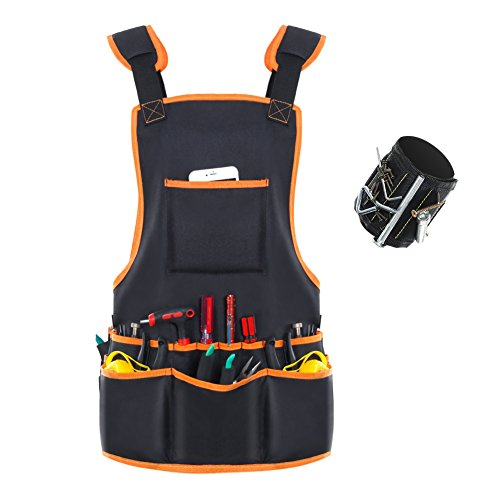 Ballistic Apron - Bingogous Tool Apron & Magnetic Wristband Set, Heavy Duty Canvas Work Apron with 16 Pockets for Holding Tools, Magnetic Wristband with Strong Magnets for Holding Screws, Nails, Drilling Bits