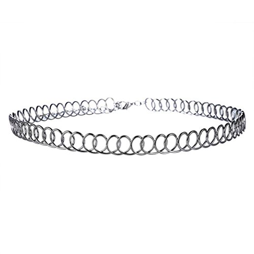 Price comparison product image Beuu Stretch Elastic Metal Necklace Women Pendant Choker Chains Charm Necklace Holder Extenders Chain for Men Organizer Display Extender Silver Women (Black)