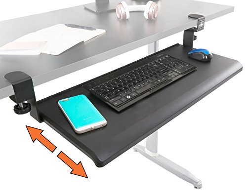 Stand Steady Clamp On Keyboard Tray - Extra Large Size - Easy Clamp - No Need to Screw into Desk! Slides Under Desk - Easy 5 Minute Assembly - Perfect for Office, Home, or (Keyboard Slide)