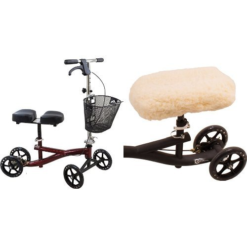 roscoe-knee-scooter-with-basket-burgundy-ros-ksbg-and-medical-universal-knee-scooter-pad-cover-165-x