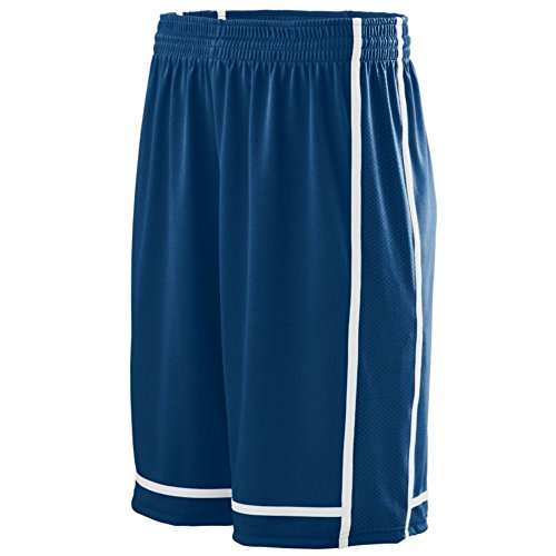 Silver Streaks Basketball (Augusta Activewear Winning Streak Short - Youth, Navy/White, Small)