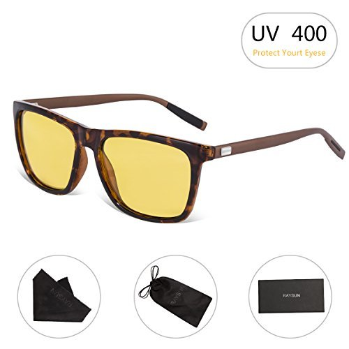 RAYSUN HD Night Vision Glasses Anti-Glare Safety Sunglasses Polarized Driving Sunglasses for Men Women