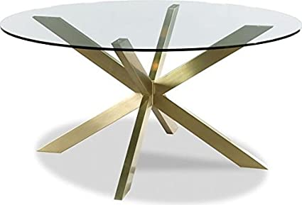 Amazoncom Woodbridge Dining Table Axelle X Base Satin Brass Glass