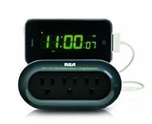 RCA PCHSTAT1R Travel Charging Station/Surge Protector with Device Cradle for Tablet PCs, Cell Phones, and MP3 Players