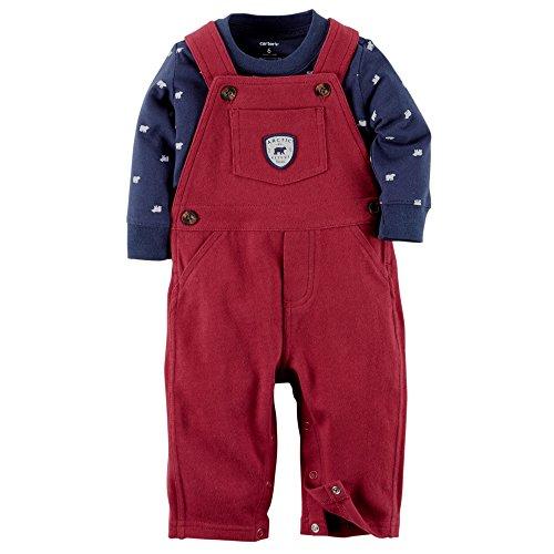 Carters Baby Boys Arctic Bear Bib Overall Set Newborn Burgundy/navy blue (New Born)