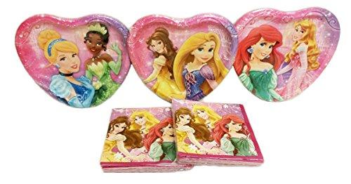 Disney Princess Party Plates (24 Plates) & Beverage Napkins (32 Napkins) Party Pack. Bundle of (Jasmine Birthday Party)