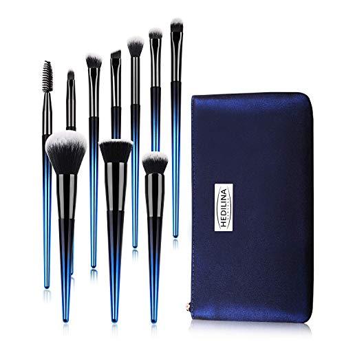 (Makeup Brushes Set with a Portable Cosmetic Bag - HEDILINA 10 pcs Professional Makeup Brush Kit, Eyebrow Eyeshadow Eyelash Lip Foundation Blush Powder Blending Concealer Brushes (Sapphire Blue))