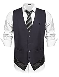 COOFANDY Men's Double Single Breasted Slim Fit Business Suit Vest Formal Waistcoat