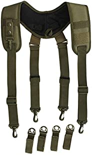 Tactical Duty Belt Harness Padded Adjustable Tool Belt Suspenders with Key Chin and Velcro Patch (Ranger Green