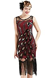 Vintage Peacock Sequin Wine-Red Fringed Flapper Dress