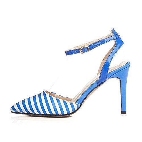 Amoonyfashion Kvinnor Lackläder Rand Spänne Sluten Tå Spikar Stilettos Sandaler Himmelsblå