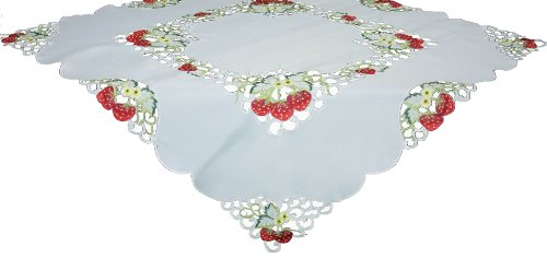 Xia Home Fashions Strawberry Embroidered Collection Cutwork Table Topper, 34 by (Butterflies Table Topper)