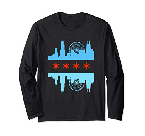 Chicago Skyline Flag Long Sleeve T-Shirt - Windy City Tee ()