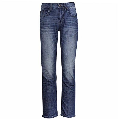 Buffalo Blu Skyler Button Fly Slim Straight Blasted & Creased Jeans Sz: 32x32 ()