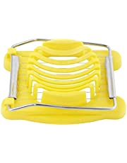 Resistant Plastic Egg Cutter with Multi-purpose Stainless Steel Cables for Cutting Eggs Salads Yellow Color