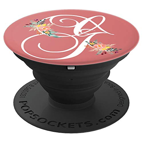 Calligraphy Monogram Initial Letter G Watercolor Flowers - PopSockets Grip and Stand for Phones and ()