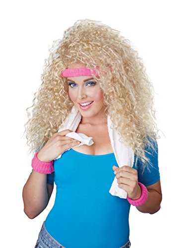California Costumes Women's Let's Get Physical Wig Headband and Sweat Band 80's Aerobics Dance Set, Blonde, One -