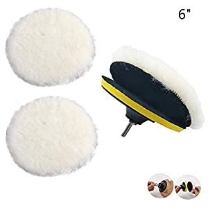 Polishing Buffer,Buffer drill attachment,polishing pad,Waxing Pads Kits with M14 Drill Adapter for Velcro Wheel Polishing Pad Waxing discs,Polishing pad for Car/Glass/Stone/ceramic-6 inch
