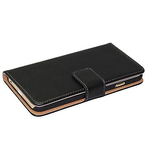 Kunstledertasche + GLAS FOLIE für Apple iPhone 6 Plus ( 5.5 Zoll ) Hülle Case Cover Etui Wallet Handytasche Zubehör Kunstlederhülle schwarz