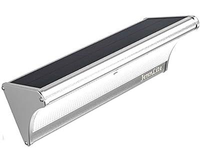 """JennLite Solar Lights Outdoor, 60 LED, True 1100 Lumen, 12"""" Wide Range Panel, 6000mAh, Motion Sensor Light, Wireless Waterproof Security Light for Garden, Landscape, Patio, Deck, Yard, Path, Driveway"""