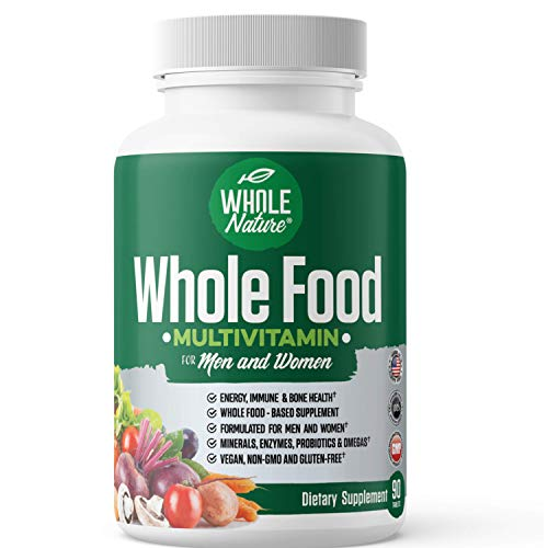 Whole Food Multivitamin for Men and Women : Whole Nature Complete Daily Superfood Vitamins Plus Minerals Digestive Enzymes, Probiotics and Omegas. Plant Based Multi Vitamin, Non GMO,Vegan