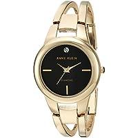 Anne Klein Women's AK/2628BKGB Diamond-Accented Gold-Tone Open Bangle Watch