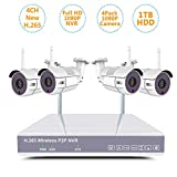 Cheap 2018 Newest Home Security Camera System H.265 NVR kit Wireless Video Surveillance 4pcs WiFi CCTV IP 1080P 2MP Night Vision Outdoor Camera w/ 1TB HDD Auto Pair(4CH1080P NVR+4pack1080P cam+1TB HDD)